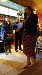 Supervisor London Breed talking at the North of Panhandle Neighborhood Association. Photo: Roger Rudick
