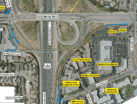 A proposed pedestrian bridge over Highway 101 at Hillsdale Boulevard in San Mateo wasn't awarded any funds from SMCTA's Pedestrian and Bicycle Program. Image: City of San Mateo