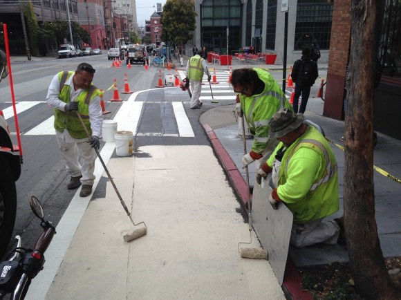 SFMTA is putting in some initial improvements before 2nd Street's big makeover begins in the Fall. Image: SFMTA