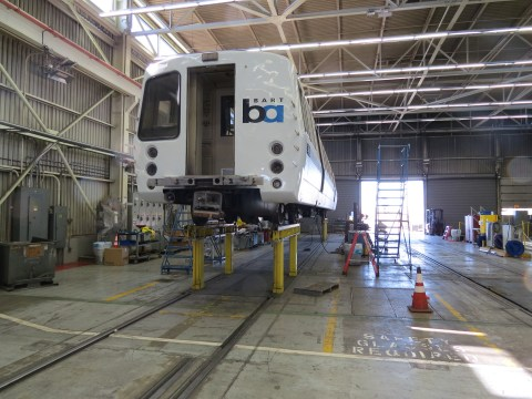 Too man BART cars are still here in the Hayward shop thanks to fried thyristors. Photo: Streetsblog.