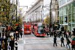 Oxford Street is one of the busiest, most successful retail streets on the planet, yet it has no parking and transit rules the street. Image: Wikimedia Commons.