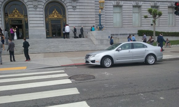 Is this Chief Suhr's car parked in the red zone in front of City Hall? Image: A tipster.