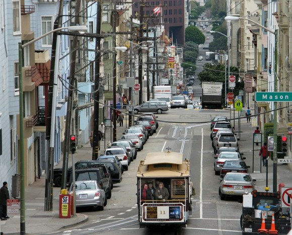 Massive amounts of precious real estate go to parking just 20 cars. Photo: SFMTA