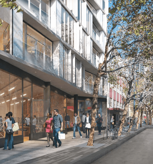 A rendering of the streetscape for the HUB. Image: SF Planning.