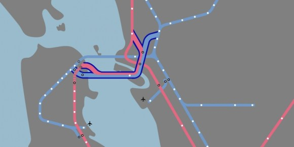 One of several alignments SPUR looked at for a second Transbay tube. Image: SPUR