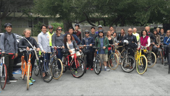 """Professor Jason Henderson's """"Bicycle Geographies"""" class explores how infrastructure could make cycling from BART to class safe and fun. Photo: ???TK"""