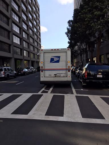 Streetsblog reader Christopher Kintner shared this photo of yet another government vehicle blocking a bike lane in Oakland.