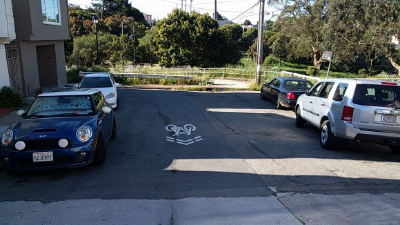 A sharrow on a dead end street? Photo: Streetsblog.