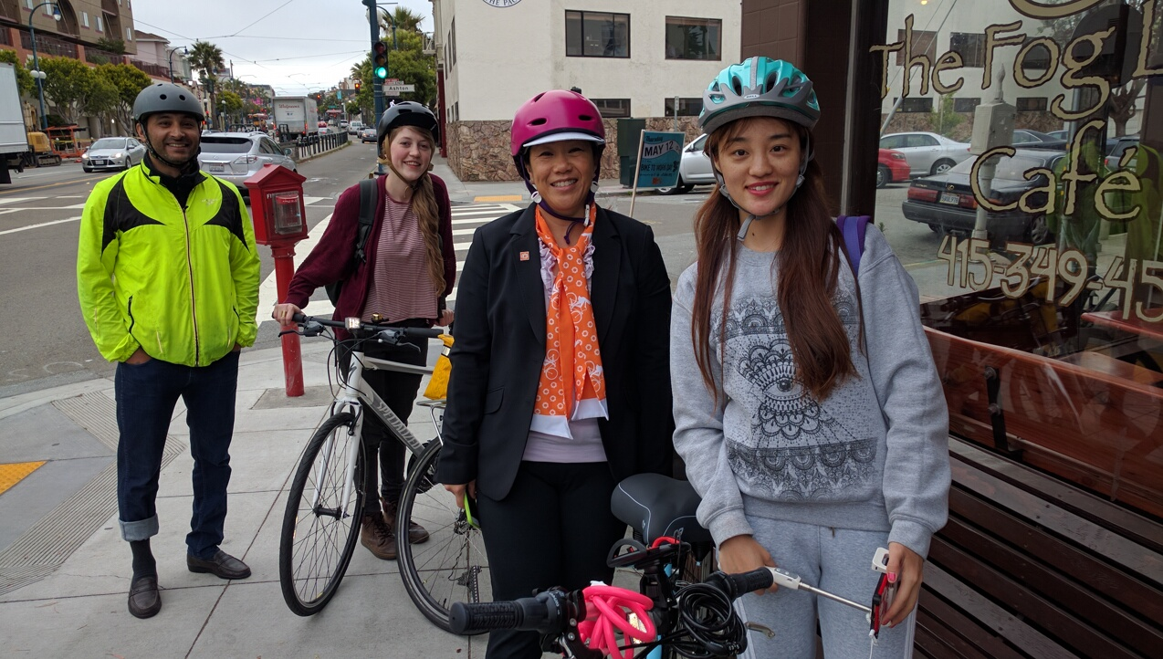 Mak Gill, Julia Schaber, Janelle Wong, and Isabel Huo gathered in front of the Fog Lifter, one of 11 start locations for commuter convoys on Bike to Work Day. Photo: Streetsblog.