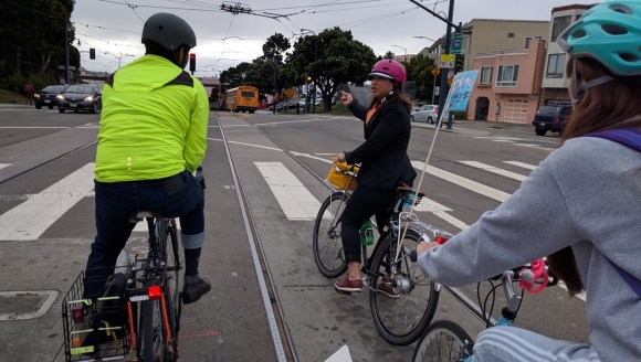 Wong led her convoy through this precarious left turn from Ocean to Phelan. Photo: Streetsblog.