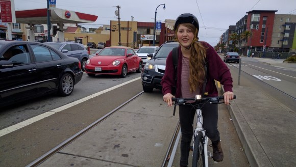 Schaber started the ride a little skittish, especially when navigating a stretch of Muni tracks just a few hundred feet from where she crashed last month. Photo: Streetsblog.