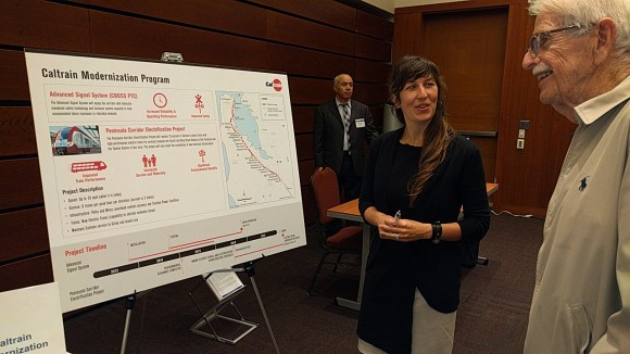 Casey Fromson explains Caltrain's electrification project. Photo: Streetsblog.