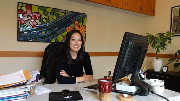 Supervisor Katy Tang, at her desk at City Hall. Photo: Streetsblog.