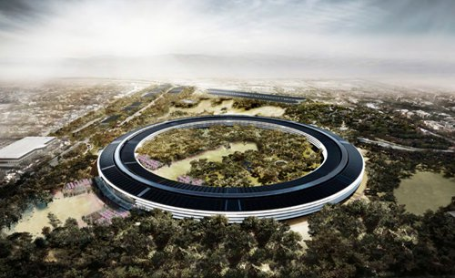"""A rendering of Apple's new """"space ship"""" headquarters in Cupertino. From the SPUR presentation."""