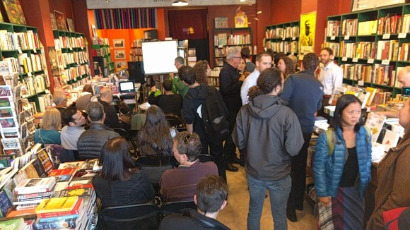 Some ##CHECK NOTES## squeezed into Green Arcade to hear about the new book. Photo: Streetsblog.