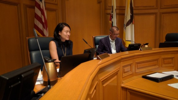 Supervisor Jane Kim, whose district includes the intersection where Kate Slattery was killed, and Supervisor Norman Yee at the Vision Zero Sub-Committee.