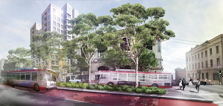 Additional funding for the Van Ness BRT Project, depicted here, was one of the projects highlighted in the Mayor's proposed budget. Image: SFMTA.