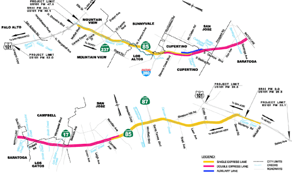 Single and Double Express Lanes planned for Highway 85 by the Valley Transportation Authority (VTA). Image: VTA