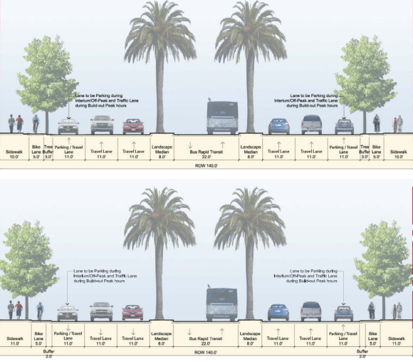 Both of the proposed designs of an 8-lane Geneva Avenue extension include pedestrian-hostile crossing distances of 120 feet at intersections. Image: City of Brisbane