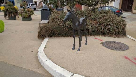 Another angle on the bronze horse that anchors the park. Photo: Streetsblog.