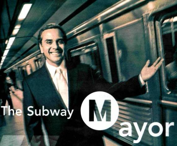 An old LA Metro promotional poster, featuring then Mayor Villaraigosa. Image: LA Metro