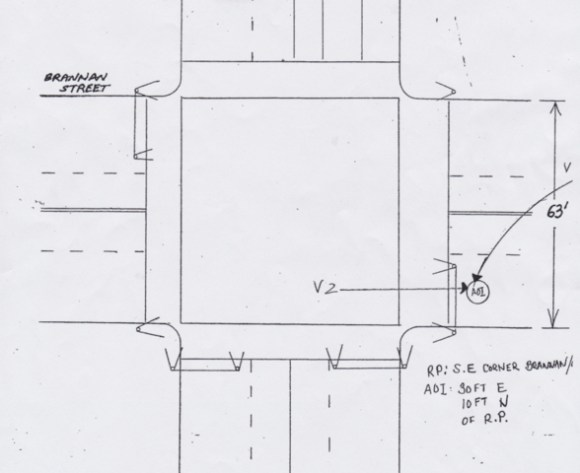 This is the actual diagram from the police report of Liszanckie's collision. Yet the same report confirms he landed in the crosswalk after hte collision? Image: SFPD.