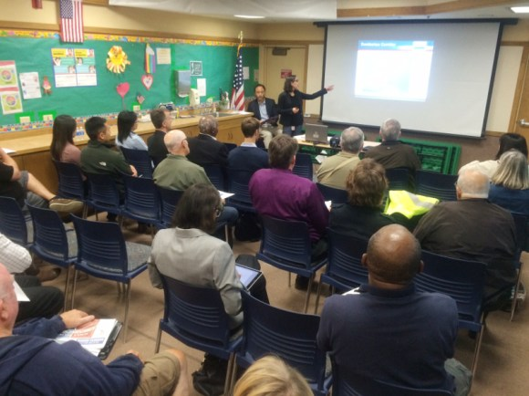 SamTrans staff present which transit and traffic expansion options are still under consideration in the agency's Dumbarton Corridor Transportation Plan at a community meeting in Newark. Photo: Andrew Boone