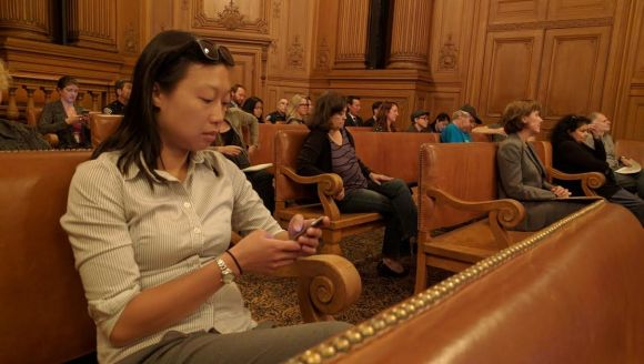 SFBC's Janice Li was among those who waited patiently for the committee to address bicycle issues as part of its scheduled agenda. Photo: Streetsblog.