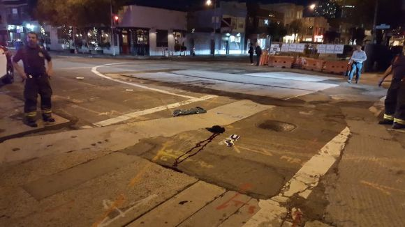 That's Justin's blood in the center of the crosswalk. But the police diagram shows him getting struck well to the right of here. Photo: SFPD.