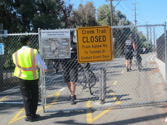 Santa Clara closes a 1.2-mile segment of the San Tomas Aquino Creek Trail to the public during events at Levi's Stadium, forcing people walking and bicycling on a two-mile detour. Photo: Andrew Boone