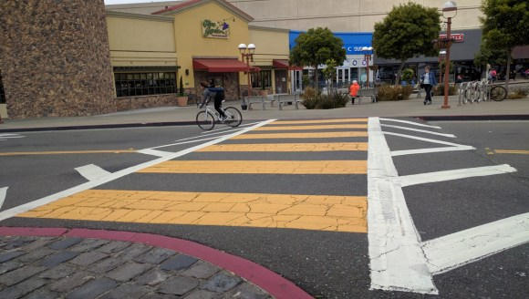 The Stonestown Mall, of all places, has one of the best crosswalks going--works fine for the rare cyclists too. Photo: Streetsblog