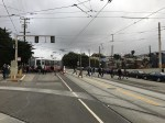 Muni track junctions, pedestrian crossings, bus stops, car lanes, highway ramps and no real bike infra make a dangerous combination. Photo: SFMTA.