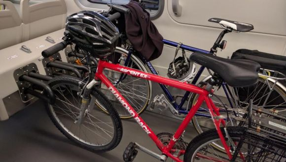 Bikes in the rack. The racks are identical to those used in the Copenhagen Metro. Photo: Streetsblog