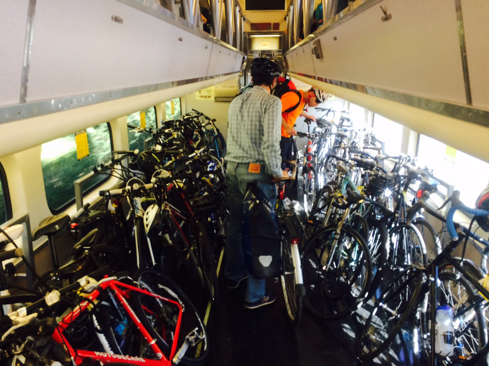 Bike parking and access to trains for people bringing bicycles on-board are among the issues discussed by Caltrain's Bicycle Advisory Committee. Photo: Andrew Boone