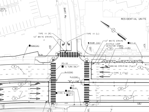South San Francisco's El Camino Real re-design includes many pedestrian safety upgrades but drops bike lanes to preserve parallel parking spaces. Image: City of South San Francisco