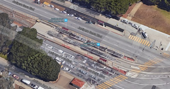 An aerial view of the intersection. Image: Google