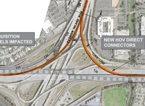 For an estimated $93 million San Mateo could expand the 101/92 interchange with new carpool lane flyover ramps. Image: SMCTA, C/CAG