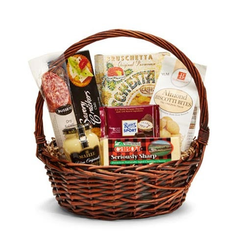 Gift basket for gift basket delivery with cheeses and sausage