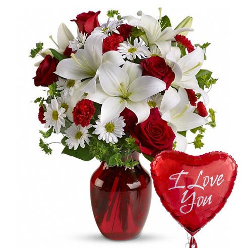 Masterpiece Flowers And Balloon Bouquet At Send Flowers