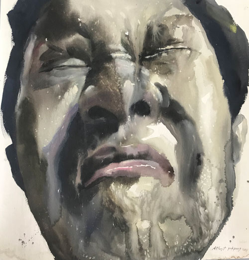 "Attasit Pokpong ""Self Portrait 1"" (2011, watercolor on paper, 25.6"" x 25.6"")"