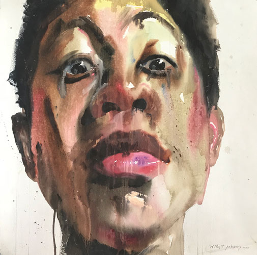 "Attasit Pokpong ""Self Portrait 4"" (2011, watercolor on paper, 25.6"" x 25.6"")"