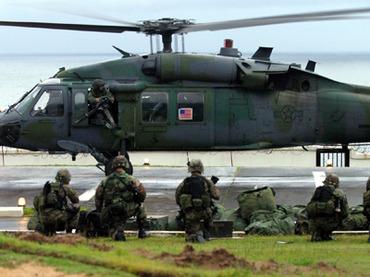 US Marines land at US embassy Monrovia, Liberia by Luc Gnago, Reuters