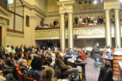 200 Oaklanders testify against gang injuctions City Council 051711 by Evan Wagstaff, Bay Citizen