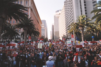 Anti-war march against rumored plan to attack Iraq SF 102602 by Peter Maiden