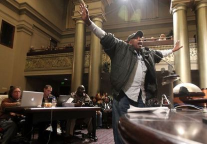 Gene Hazzard, Oakland Post, testifies against hiring police consultant William Bratton City Council 012213 by Lance Iver
