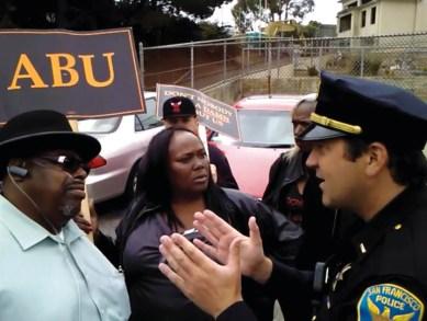 ABU protest Willie Brown Academy James Richards, SFPD Capt. Robert OGÇÖSullivan 082112 courtesy ABU, web