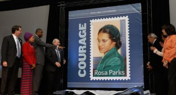 Rosa Parks stamp unveiled on her 100th b'day at Henry Ford Museum, Dearborn, Mich. 020413
