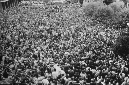 Black Panthers- Crowd listening to Eldridge Cleaver speak UC Berkeley by Pirkle Jones