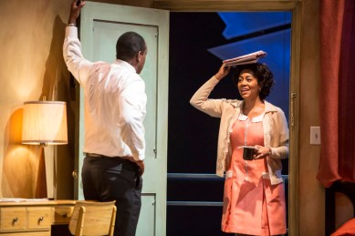 GÇÿThe MountaintopGÇÖ Adrian Roberts as MLK, Simone Missick as maid Camae at TheatreWorks Palo Alto 0313 by Tracy Martin