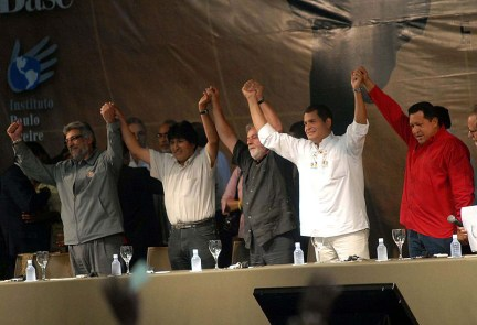 Presidents Fernando Lugo, Evo Morales, Luiz Lula da Silva, Rafael Correa, Hugo Chavez unity 2008, web